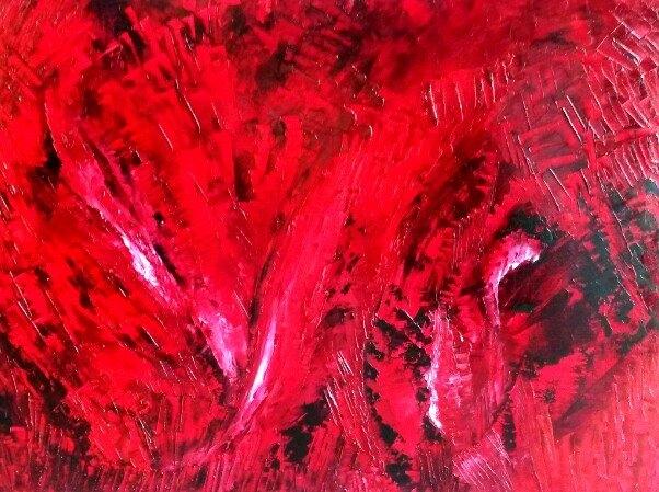 Le rouge Huile Collias-Aout-2014 100cm/ 80cm
