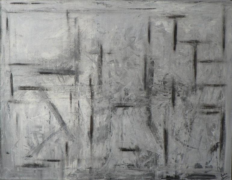 Grisaille Huile et Acrylique sur toile 116cm sur 89cm