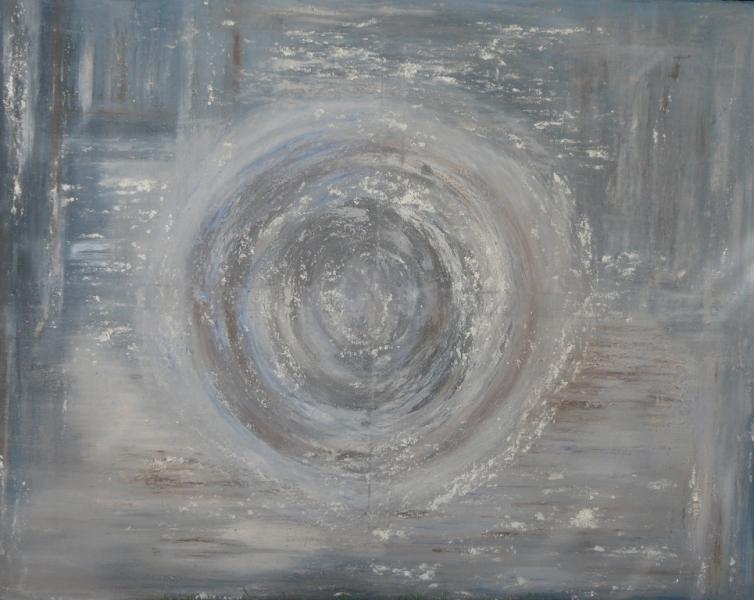 Sphère, huile et acrylique sur toile 80cm sur 100cm