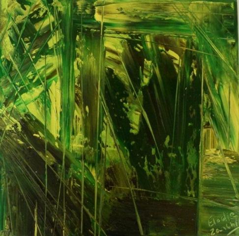Bambou 2 Huile sur toile 30cm/ 30cm Paris 2011